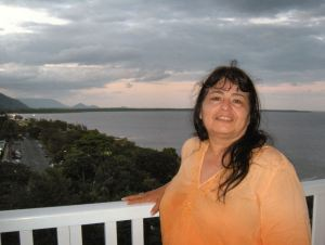Moi on our balcony in Cairns.