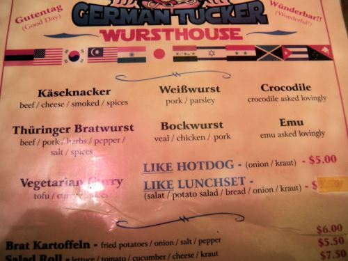 Menu from German Tucker Sausage House