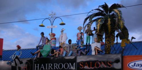 Beach folk atop St. Kilda hair salon!