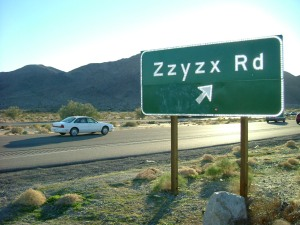 """Zzyzx road"" by Christopher Mann McKay. Licensed under CC BY 2.5 via Wikimedia Commons - http://commons.wikimedia.org/wiki/File:Zzyzx_road.jpg#/media/File:Zzyzx_road.jpg"