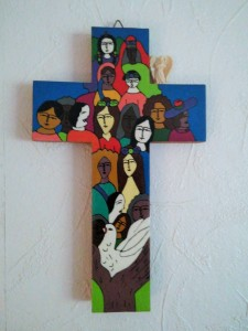 Brightly painted cross, meant for children, I believe.