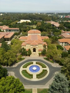 View of Memorial Auditorium and the Silicon Valley beyond. Taken from Stanford's Hoover Tower.